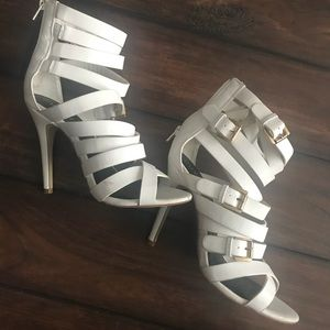 Scrappy White & Gold Heels